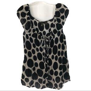 Serendade Black & White Polka Dot Sheer Top